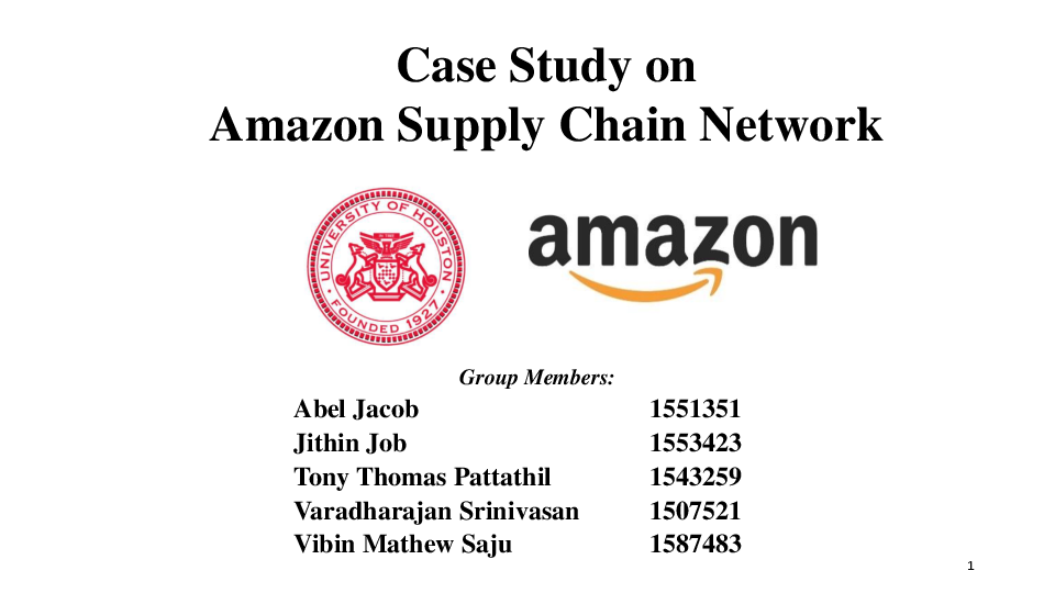 PPT) Case Study on Amazon Supply Chain Metrics pptx   Abel Jacob