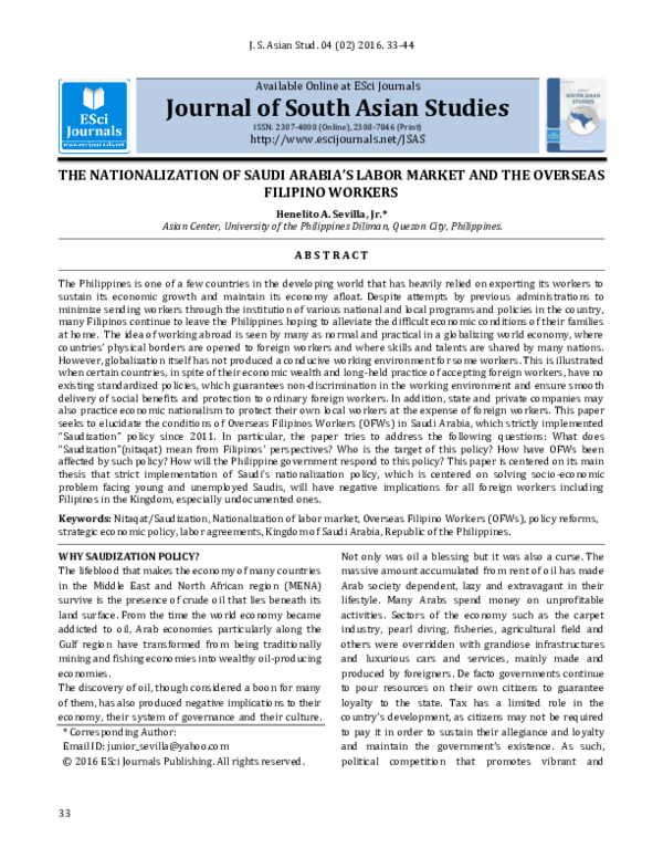 PDF) Journal of South Asian Studies THE NATIONALIZATION OF