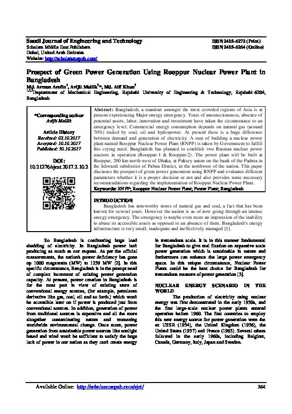PDF) Prospect of Green Power Generation Using Rooppur