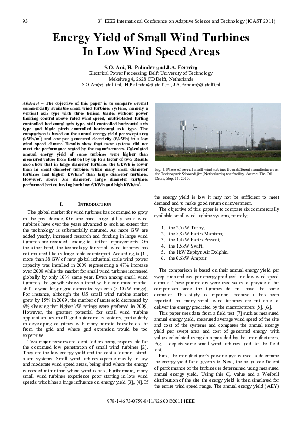 PDF) Energy Yield of Small Wind Turbines in Low Wind Speed