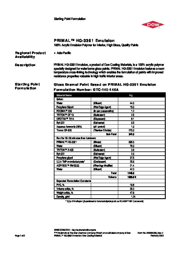 PDF) Starting Point Formulation PRIMAL™ HG-3361 Emulsion