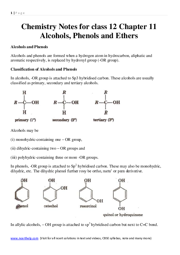 PDF) Chemistry Notes for class 12 Chapter 11 Alcohols, Phenols and