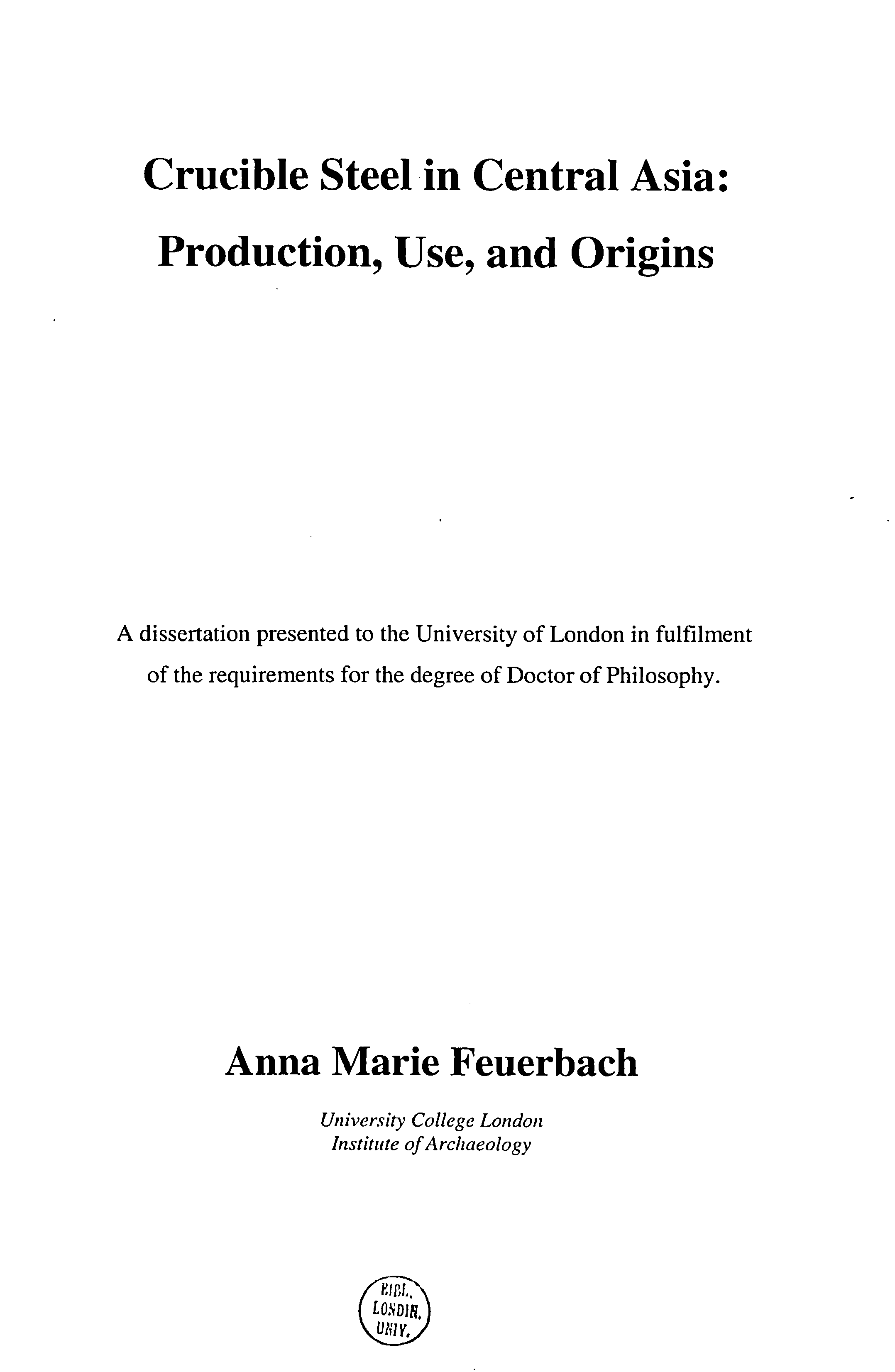Pdf Crucible Steel In Central Asia Production Use And Origins Ann Feuerbach Academia Edu