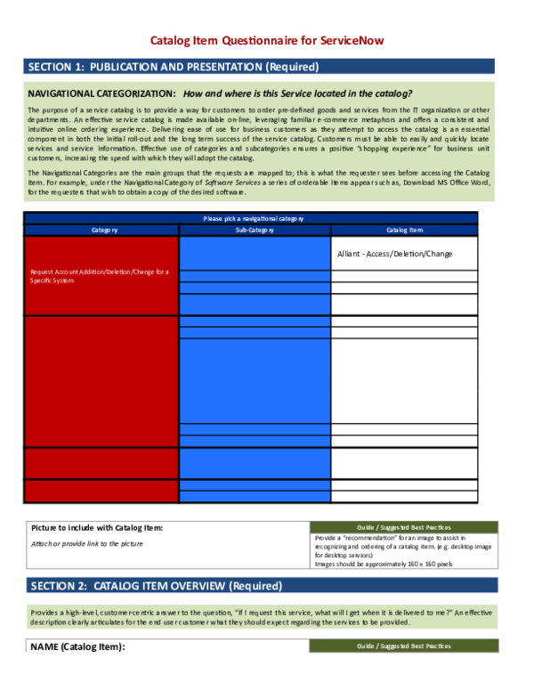 DOC) Catalog Item Questionnaire for ServiceNow | firdous