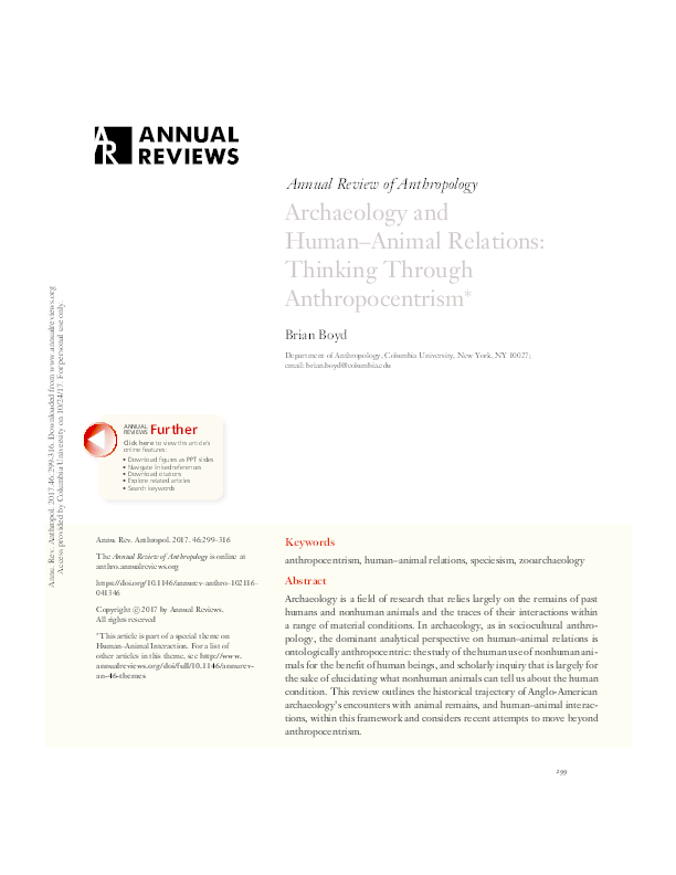 PDF) Archaeology and Human–Animal Relations: Thinking