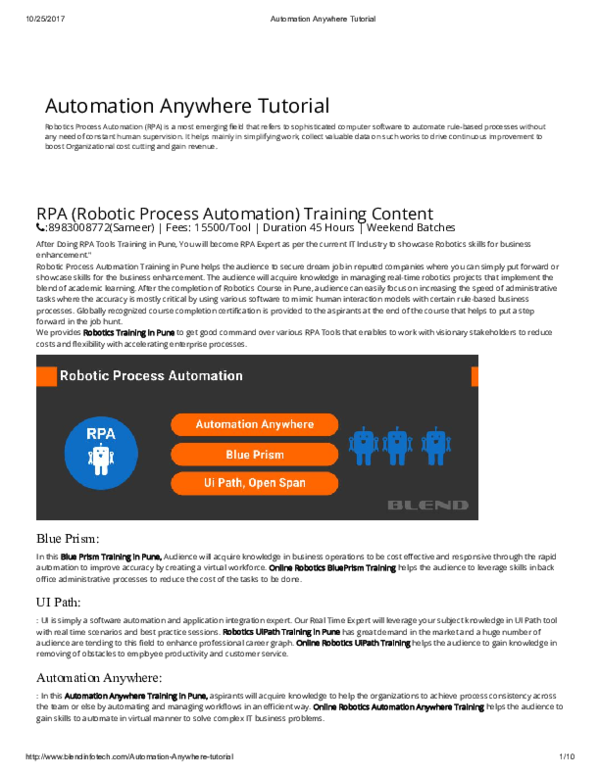 PDF) Automation Anywhere Tutorial | Jagadeesh sappa