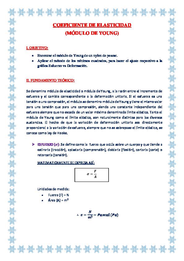 Doc Coeficiente De Elasticidad Módulo De Young Karen