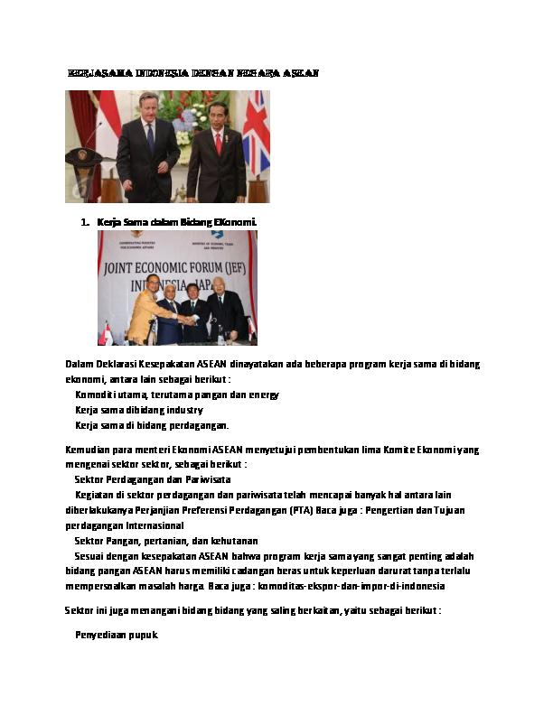 Gambar Kerjasama Asean Di Bidang Ekonomi Dan Perdagangan Doc Kerjasama Indonesia Dengan Negara Asean Reza Ramdani Academia Edu