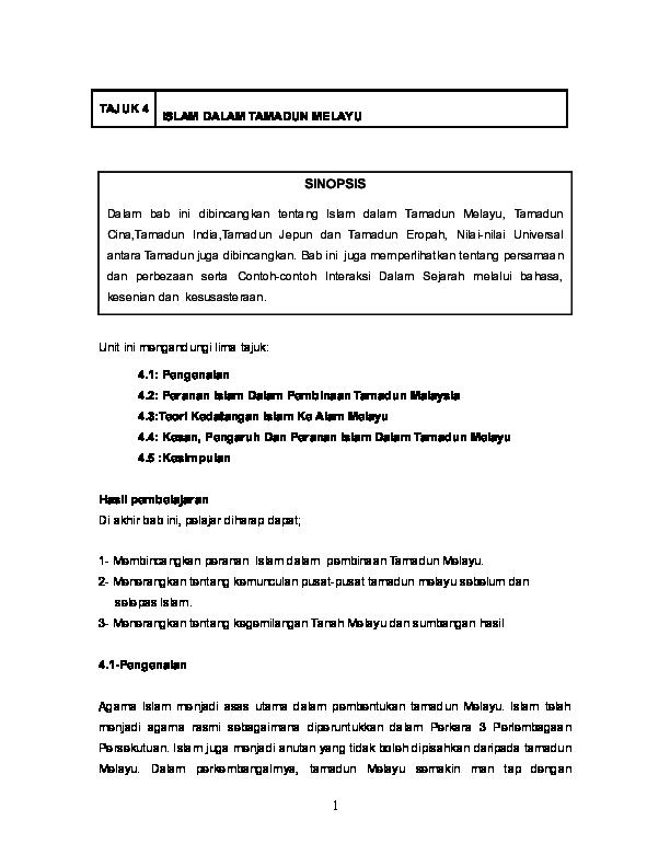 Doc Tajuk 4 Islam Dalam Tamadun Melayu Syakil Zainal Academia Edu