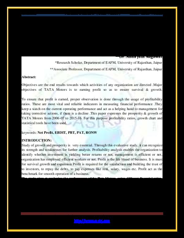 PDF) AN EVALUATIVE STUDY OF PROFITABILITY OF TATA MOTORS