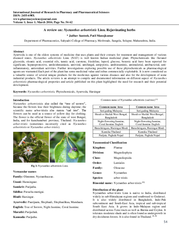 PDF) A review on: Nyctanthes arbortristis Linn  Rejuvinating