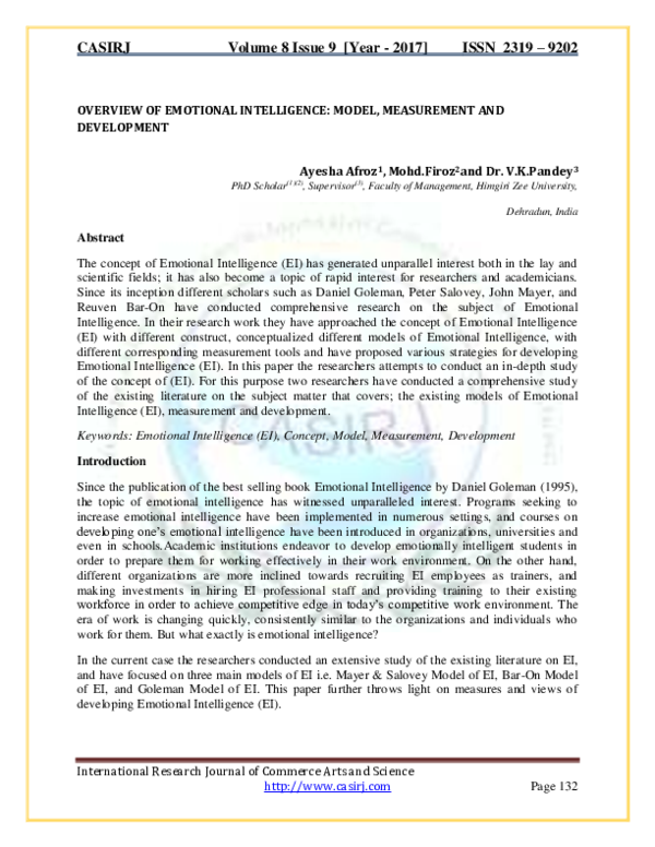 PDF) OVERVIEW OF EMOTIONAL INTELLIGENCE: MODEL, MEASUREMENT