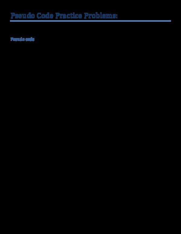 PDF) Pseudo Code Practice Problems | peilun amsedal