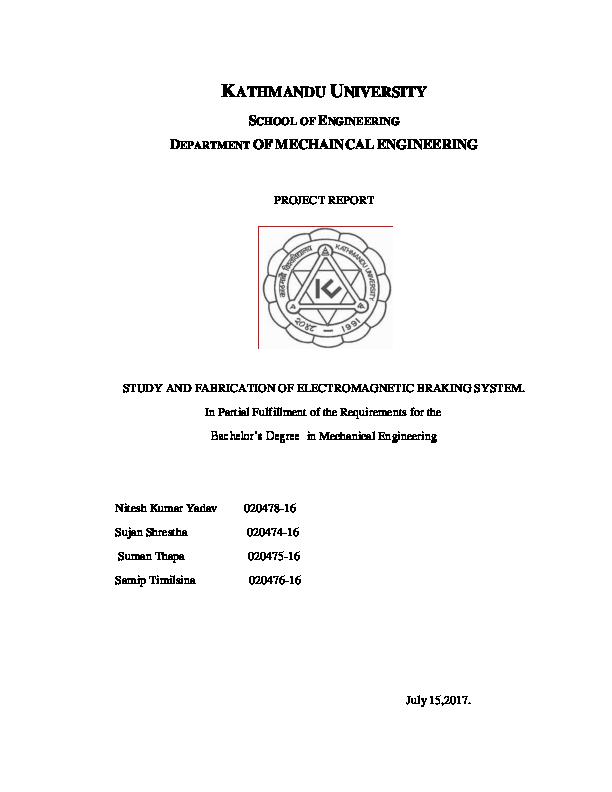 PDF) Final Report on Electromagnetci Braking System pdf | YV Nitesh