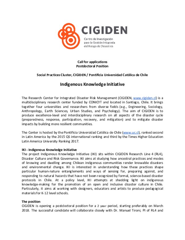 PDF) Call for postdoctoral position // Indigenous Knowledge