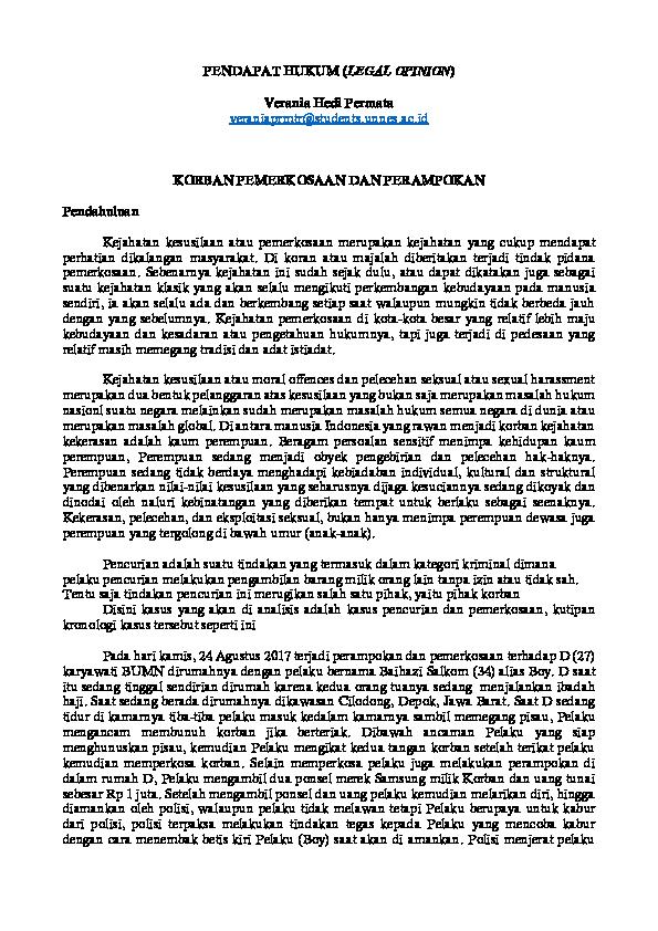 Doc Pendapat Hukum Legal Opinion Verania Hedi Permata Academia Edu