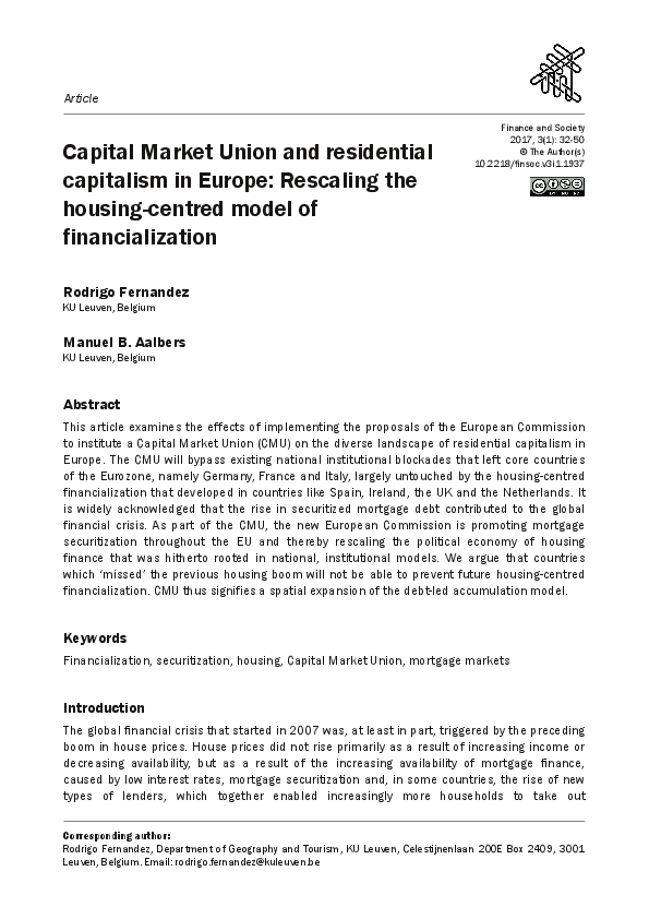 PDF) Capital Market Union and residential capitalism in