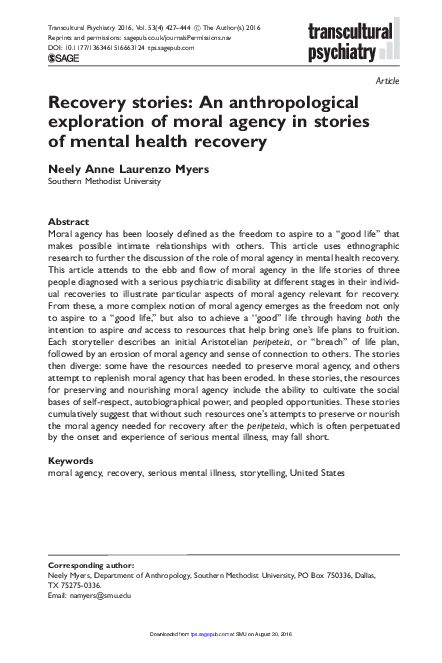 PDF) Recovery Stories: An Anthropological Study of Mental
