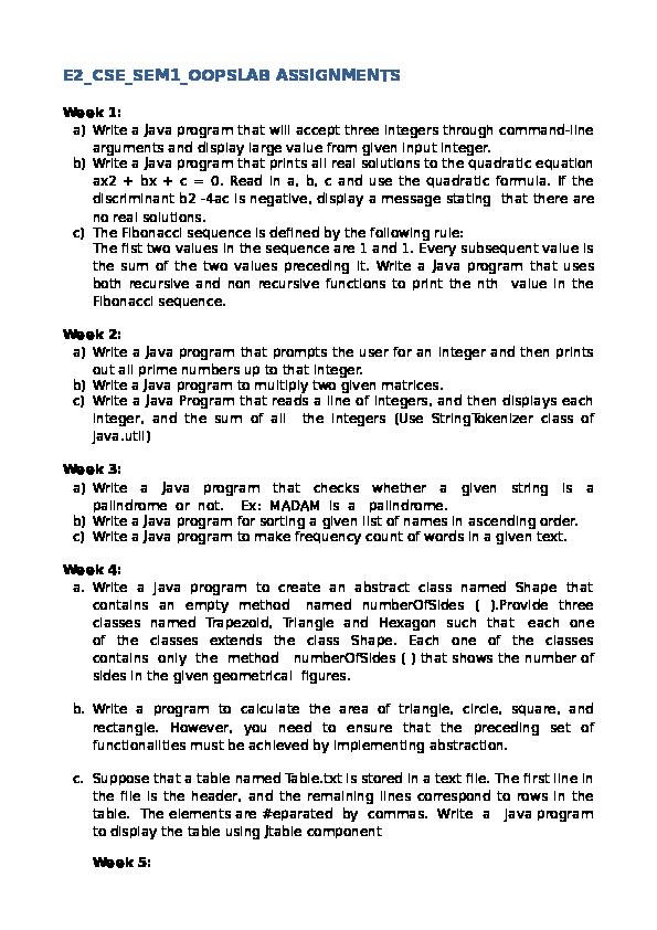 PDF) E2_CSE_SEM1_OOPSLAB ASSIGNMENTS | Shaik Parvez