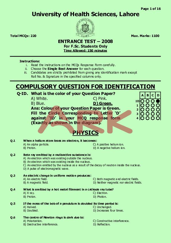 PDF) A01  mcat uhs past paper 2008 - green | Ahmed Nadeem