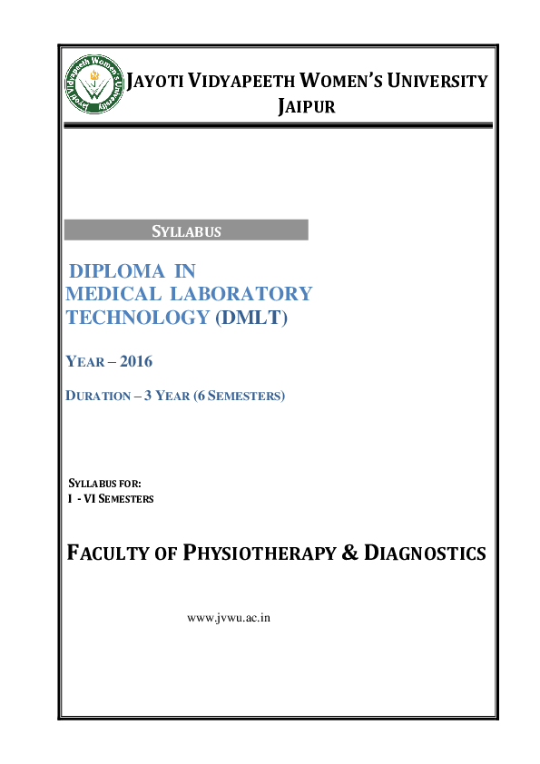 PDF) DIPLOMA IN MEDICAL LABORATORY TECHNOLOGY (DMLT) FACULTY