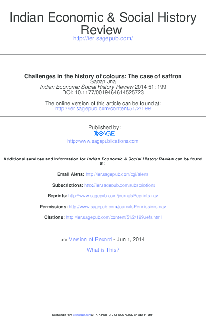 PDF) 'Challenges in the History of Colours: A Case of Saffron