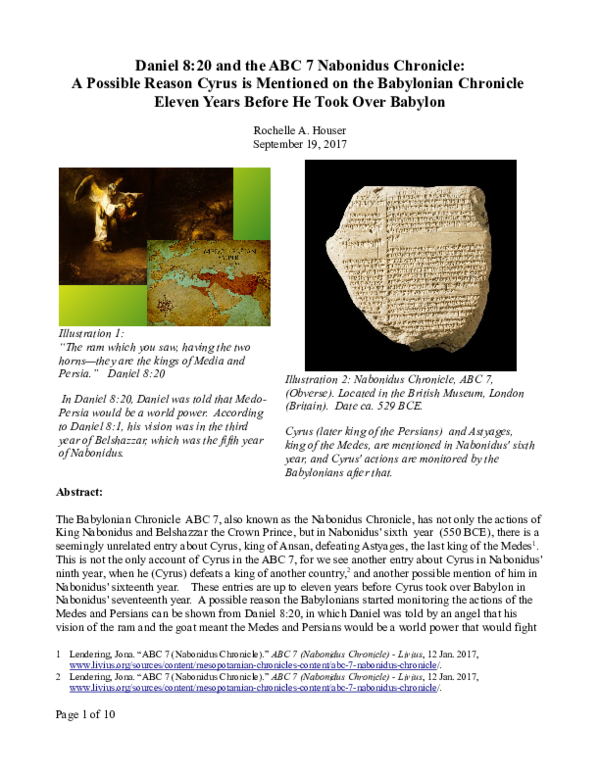 PDF) Daniel 8:20 and the ABC 7 Nabonidus Chronicle: A Possible