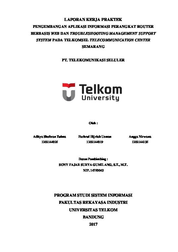 Pdf Laporan Kerja Praktek Telkomsel Angga Nirwana Academia Edu