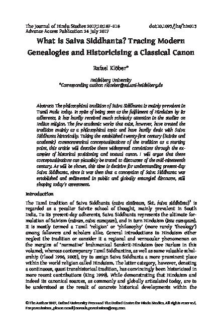 PDF) What is Saiva Siddhanta? Tracing Modern Genealogies and