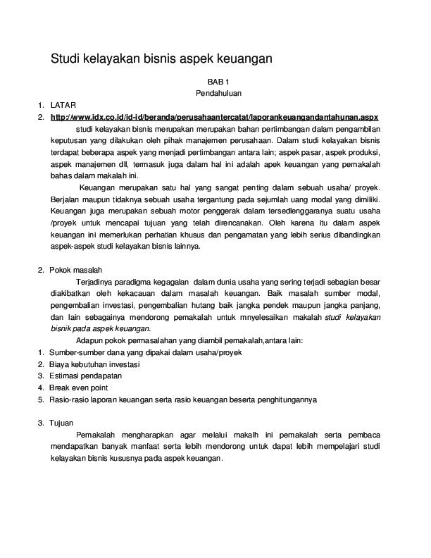 Doc Studi Kelayakan Bisnis Aspek Keuangan Nelly Nopta Academia Edu