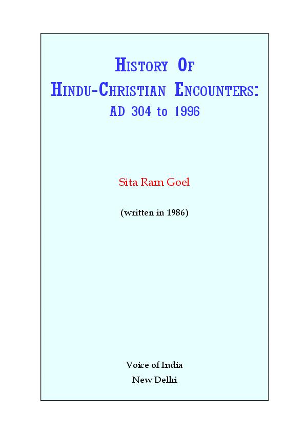 PDF) History of Hindu Christian Encounters - Sitaram Goel