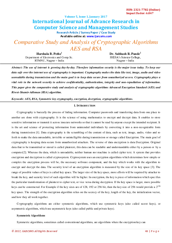 PDF) Comparative Study and Analysis of Cryptographic