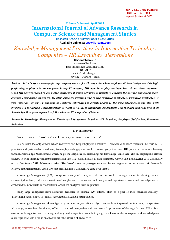 PDF) Knowledge Management Practices in Information Technology