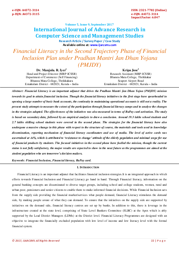 PDF) Financial Literacy in the Second Trajectory Phase of