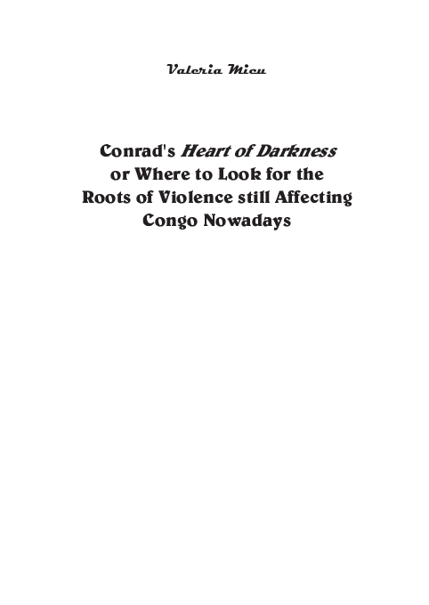 Conrads Heart Of Darkness Or Where To Look For The Roots Of