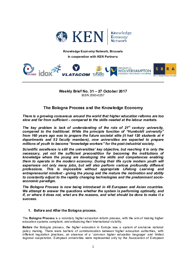 The Bologna Process and Knowledge Economy Yelena Istileulova KEN ... 23fab0c0430d
