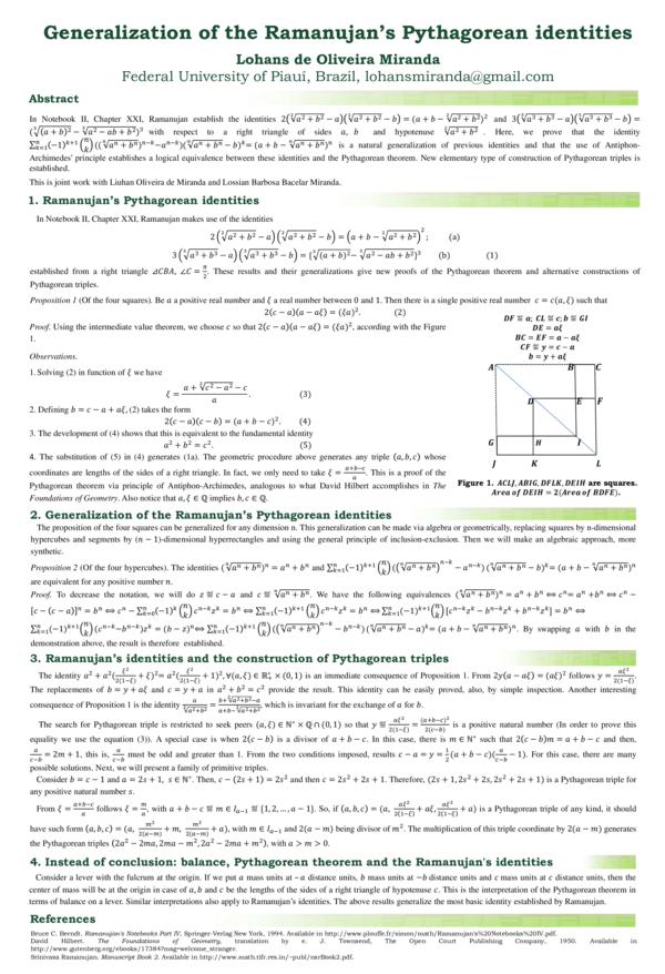 PDF) Generalization of the Ramanujan's Pythagorean