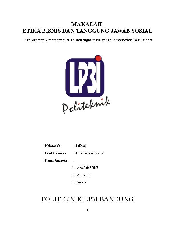 Doc Makalah Etika Bisnis Dan Tanggung Jawab Sosial Ade Arief Academia Edu