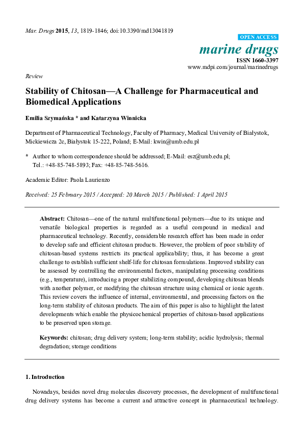PDF) Stability of Chitosan—A Challenge for Pharmaceutical and