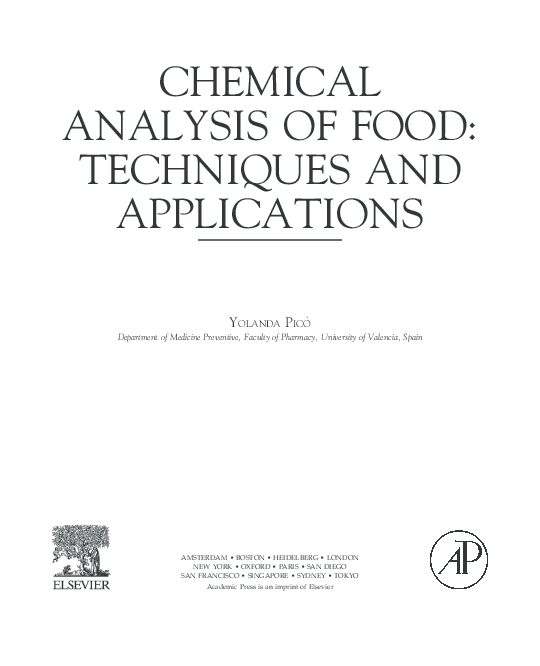 PDF) CHEMICAL ANALYSIS OF FOOD: TECHNIQUES AND APPLICATIONS