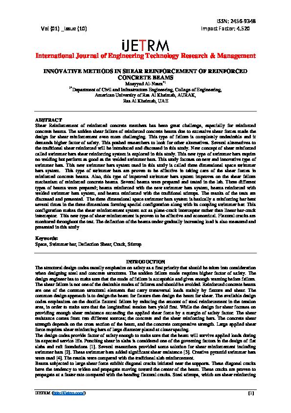 PDF) INNOVATIVE METHODS IN SHEAR REINFORCEMENT OF REINFORCED