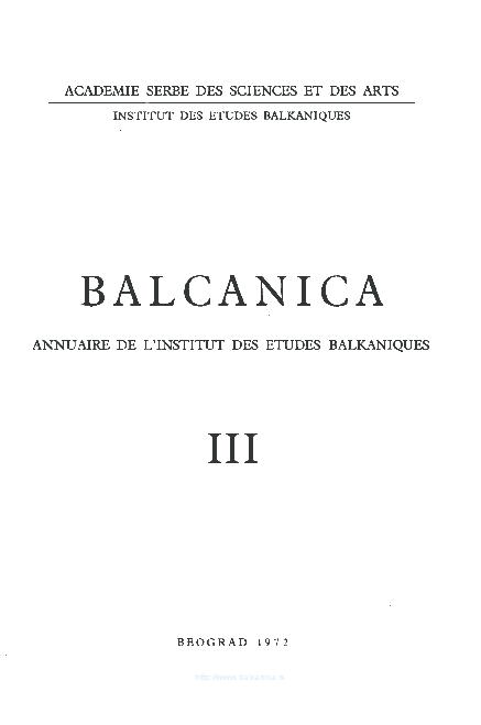 Pdf Balcanica Iii 1972 Institute For Balkan Studies