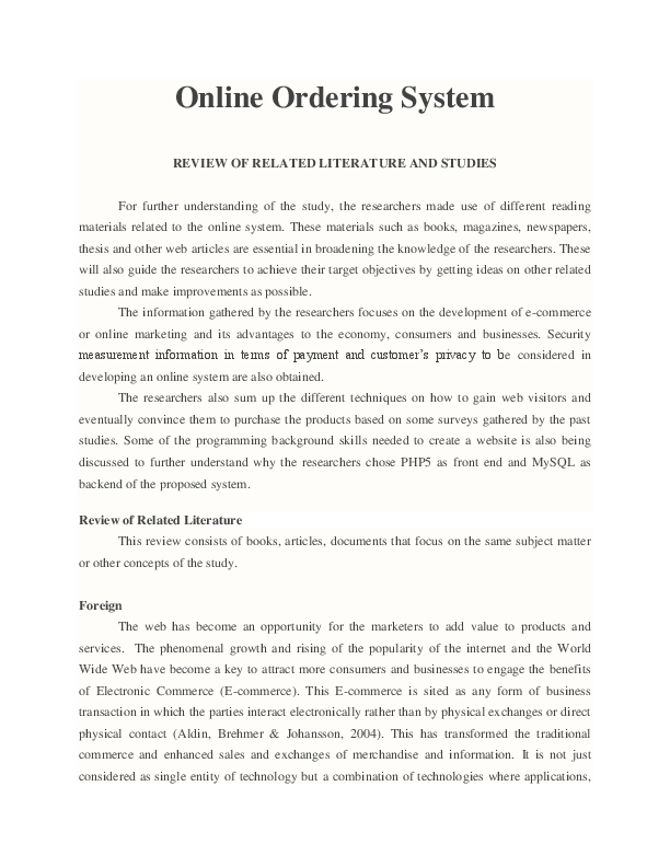 Review of related literature for online ordering system