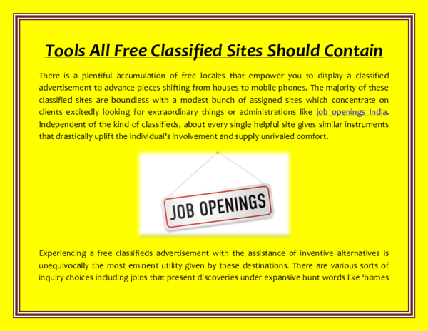 PDF) Tools All Free Classified Sites Should Contain | Hiral