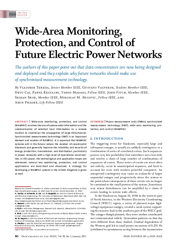 PDF) Wide-Area Monitoring, Protection, and Control of Future