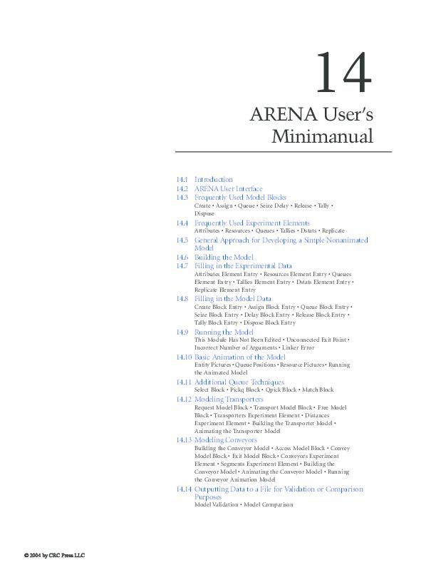 PDF) 4 ARENA User's Minimanual 14 1 Introduction 14 2 ARENA User