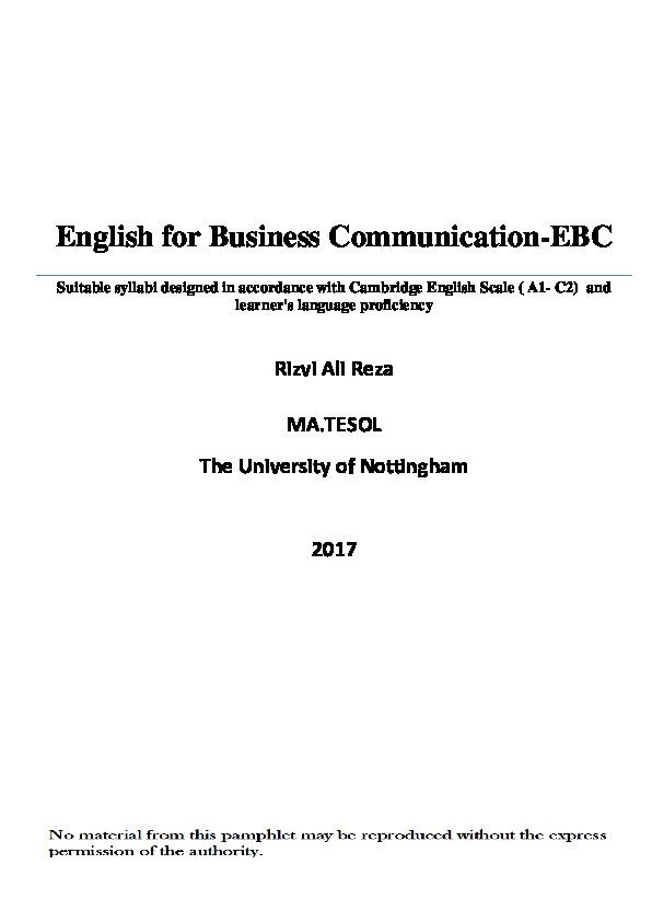 PDF) English for Business Communication (EBC) | alireza