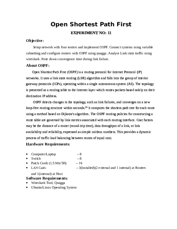 PDF) Open Shortest Path First | bhoomika rao - Academia edu
