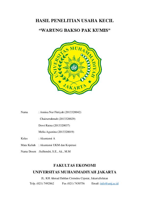 Pdf Observasi Umkm Warung Bakso Pak Kumis Annisa Fitriyah Academia Edu