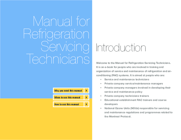 PDF) Manual for Refrigeration Servicing Technicians